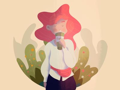 Matcha girl 👧🍵 lille art digital art procreate illustrator illustration character design matcha tea