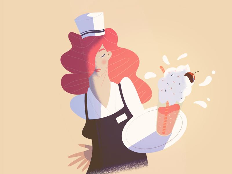 Milk Shake 🥤🥤 redhead digital illustration digital art procreate drawing art sugar milk shake lille waitress design character illustrator illustration