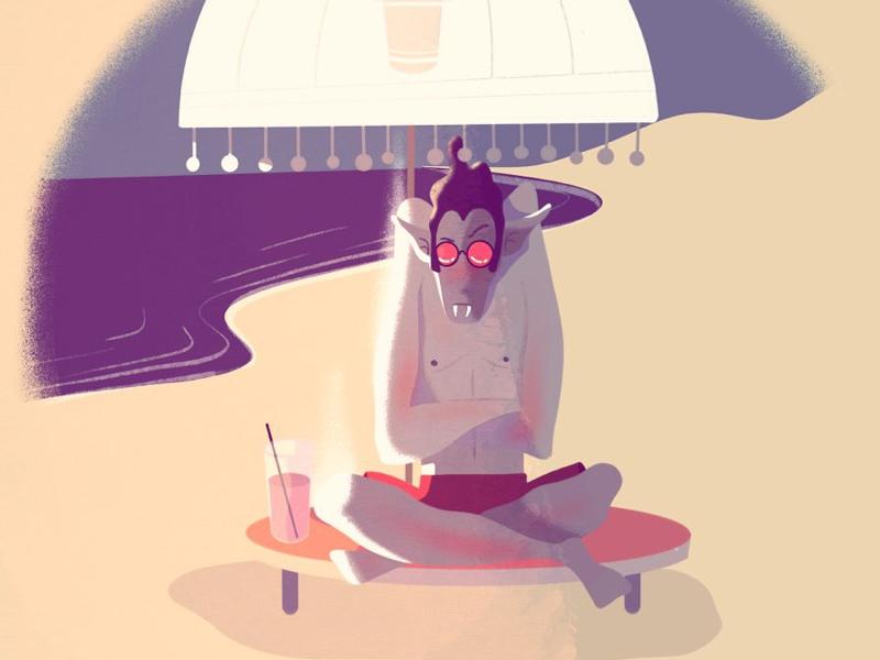 A vampire holiday 🧛♂️🏖 digital illustration digital art procreate lille illustrator holiday seaside beach cartoon vampire character design illustration