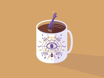 Black magic ☕️ coffee art digital art illustrator magic black magic graphic design symbols gipsy procreate illustration