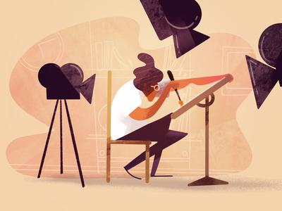 Recording session 🎥✍️ digital art flat retro cameras design character blog post dribbble procreate illustrator illustration