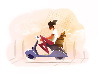 Road Trip on Two Wheels 🛵🐶 holidays italy vespa dog scooter illustrateur procreate lille digital painting digital art texture retro illustration