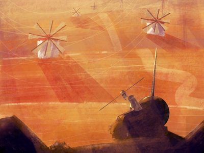 Don Quixote 🐎☀️ digital art art don quixote landscape character design book retro classical painting digital painting illustration
