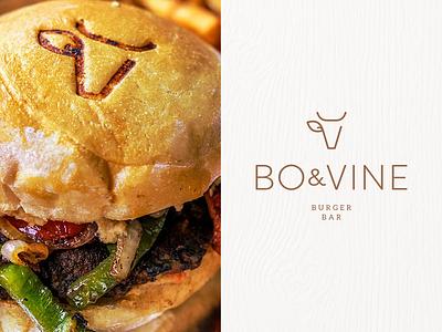 Bo & Vine vegan mark carnivore minimal bar wine bull cow beef burger branding logo