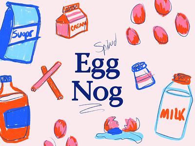 Spiked Eggnog Poster Illustrations food illustration poster holiday eggnog