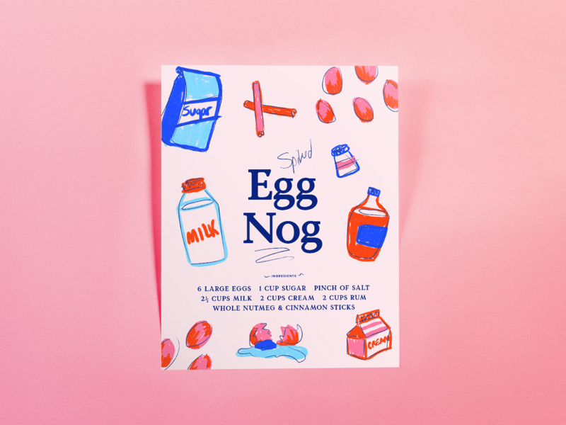 Spiked Eggnog Poster poster illustration holiday eggnog food