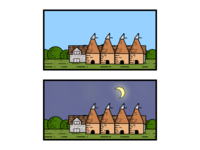 Oast houses Night/Day