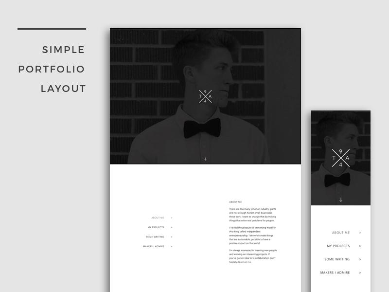 simple portfolio layout by tim aton on dribbble