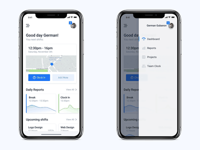 Time tracker employee app clock app clock projects reports clean app clean minimal app timesheets timesheet employee time tracker mobile app design mobile app app concept mobile ux ui
