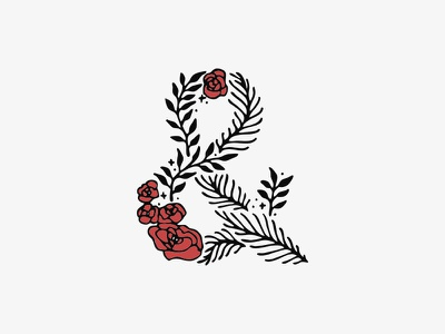"""""""Posy"""" logo fontself vines roses hand lettering typeface display floral font"""