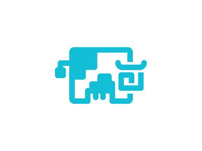 Milkboi stickermule milk line farm cute cow geometric animal icon illustration symbol logo