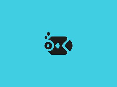 Fish logo aquarium minimal aqua fish geometric illustration animal icon symbol logo