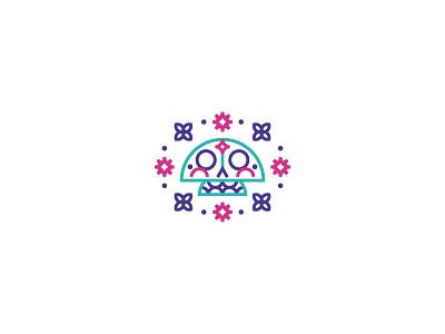 Calaverita del Día de Muertos diadelosmuertos sugar skull minimal color flowers line geometric mexico calaverita diademuertos illustration icon symbol logo