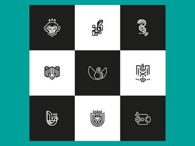My Top Nine 2020 :) minimal fish lion rooster eagle mexico swan bear toucan bunny monkey geometry mark line geometric animal illustration symbol icon logo