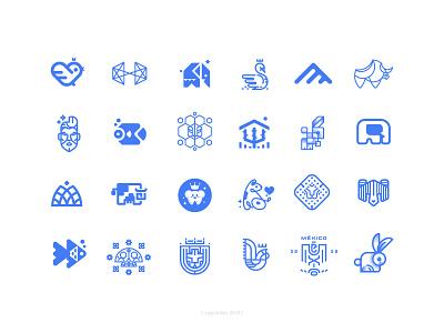 Logofolio 2020 calaverita dog lion elephant cow bird minimal line geometric animal illustration icon symbol logo