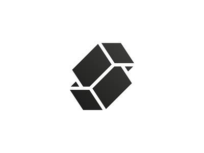 S + box / logo concept box s letter shape cube 3d geometry minimal mark line geometric icon symbol logo