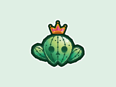 Cactus sticker thorn spines queen king plant crown cactus line icon logo illustration
