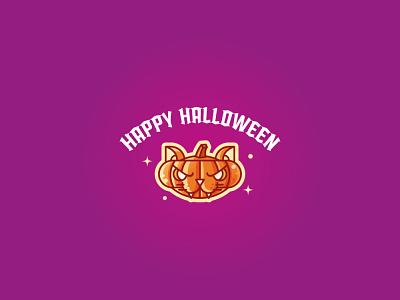 Pumpkin cat logo symbol icon illustration animal geometric line cat pumpkin halloween mexico día de muertos