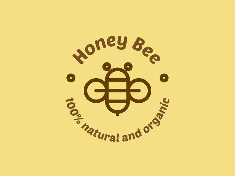 Honey bee logo wings organic natural insignia honey bee insect geometry minimal line geometric icon illustration mark symbol logo