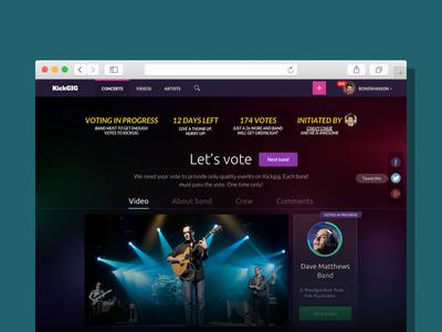 Kickgig / Explore And Vote Music Bands profile page profile voting vote music band music