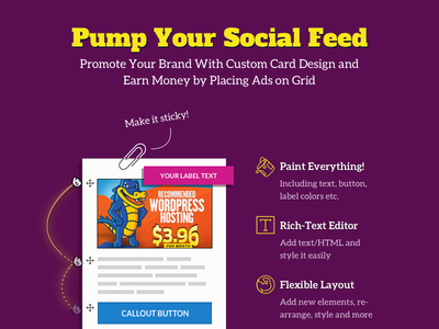 Flow-Flow: Ad&Branding Custom Card Promo wordpress plugin wordpress profit profiting social promotion promo social media social feed advertisement advertising ad