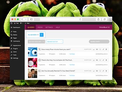 Backend Editor UI for OnionBuzz interface ui admin dashboard fun plugin wordpress buzz viral quiz