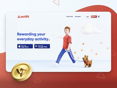 Actifit Landing Page - Brand Revamp landingpage app fitness crypto logo branding ui web design illustration 3d