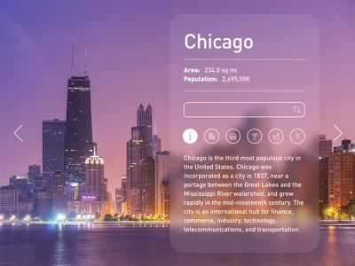 Day 014 - Travel Card widget us travel tourist dailyui daily city chicago card 014