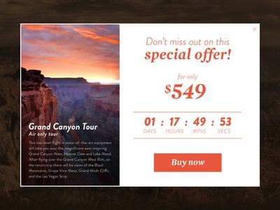 Day 017 - Special Offer widget price travel tourist dailyui offer canyon  special grand arizona card 017