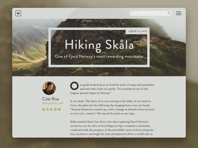 Day 018 - Blog Post mountain woods norway story writer hiking dailyui daily post blog card 018