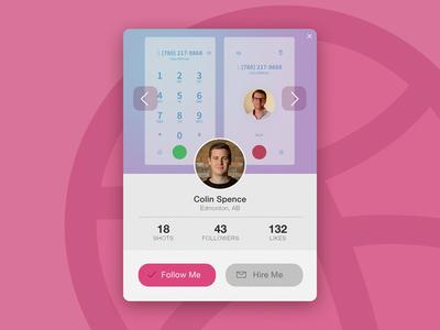 Day 019 - Dribbble Profile Card modal profile daily edmonton colin card dribbble widget 019 dailyui