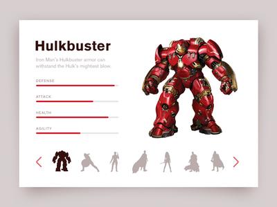 Day 027 - Character Selection ui daily meter skills superhero comic marvel card hulkbuster selection character 027