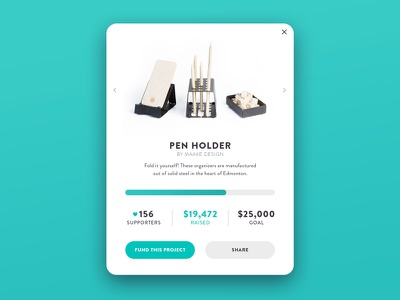 Day 032 - Crowdfunding Card minimal crowd goal project fund product holder pen card crowdfunding 032 dailyui