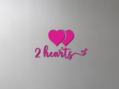2 HEARTS i love you love hearts design bold creative design brand design minimal graphic design clean logo