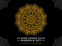 20 Hand-Drawn Style Mandala Set