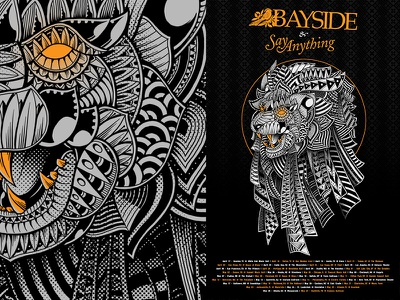 Bayside X Say Anything Tour Poster poster art ink black and white photoshop digital art illustration say anything bayside sacred geometry ornate pattern music tattoo lion poster