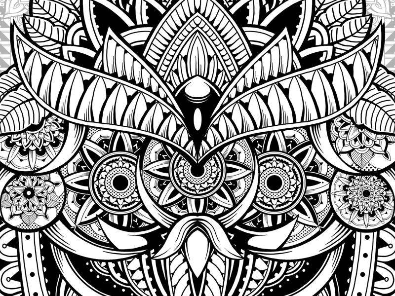 Amaterasu vector graphic design vintage mandala tattoo ornament surrealism illustration digital art wacom photoshop drawing tshirt design black and white pattern floral ornamental ornate alien owl