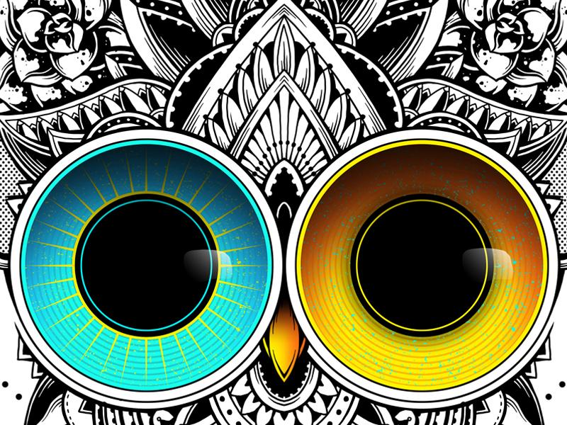 Eclipse surrealism mandala sacred geometry digital art black and white t-shirt design flowers animal ornate artwork owl vintage artsy pattern illustration photoshop drawing tattoo ornamental