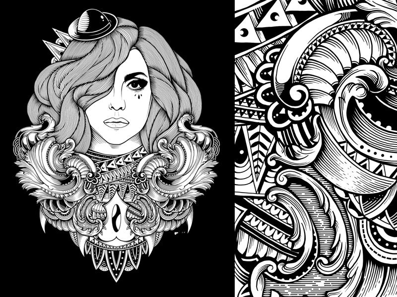 Mother Of Monster mandala vintage artsy graphic design black and white sacred geometry t-shirt design ornate ornamental artwork digital art drawing tattoo photoshop illustration pattern character artist lady gaga
