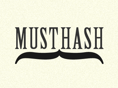 MustHash typography logo musthash moustache