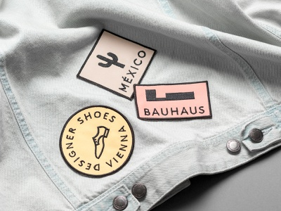 Patch Designs for Viennese Shoe Brand icons branding apparel vienna mexico font design embroidery colors bauhaus patches illustration design shoes fashion brand