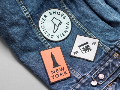 Embroidered patch design photography logo shoes fashion branding colors embroidery font vienna new york apparel illustration