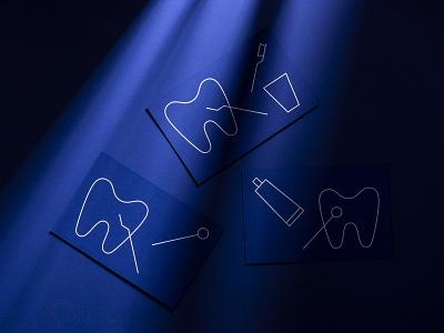 Stationary for AP+ Dentistry print white ink blue graphic design stationary design business cards medical tooth toothbrush dentist symbol illustration logo branding