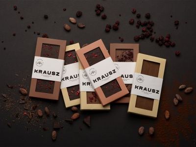 Krausz Handmade Chocolate Packaging mimimal branding delicious premium cocoa fruits chocolate handmade packaging