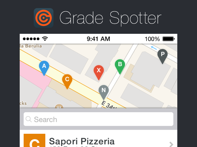 Grade Spotter iOS 7 ios7 gradespotter nyc iphone mapview map tableview list markers