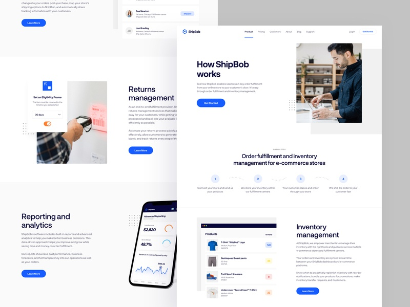 ShipBob - Product page experience research shipment shipping interface page landing b2c b2b saas product website web design ux ui