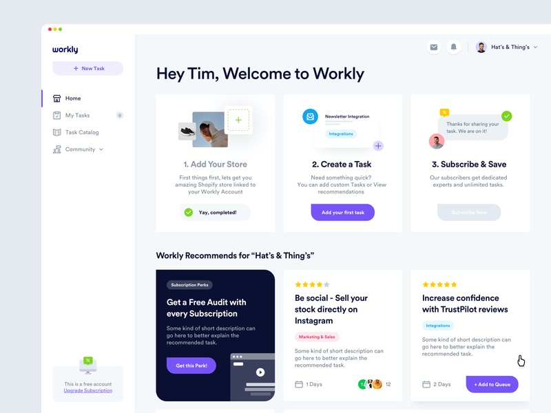 Workly - Dashboard product design web design information analysis cards ui kit design system shopify task manager research interface dashboard desktop app web design user experience user inteface ux ui
