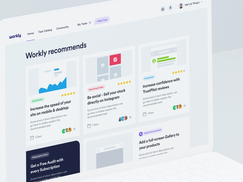 Workly - Dashboard - Home V2 shopify interface dashboard desktop app web tool manager task list tasks strategy research design user experience user interface ux ui