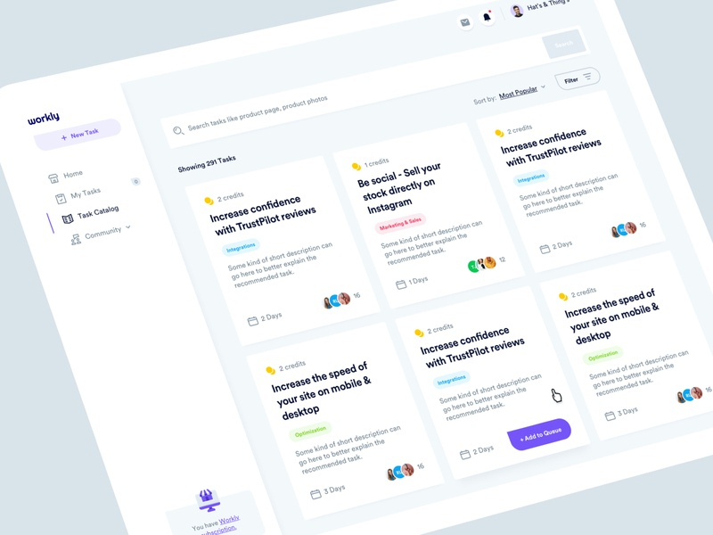 Workly - Task Catalog product design web design analytics infographic clean cms design system grid cards layout list task management tasks dashboard user experience user interface ux design ui design ux ui