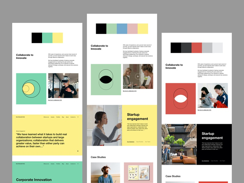 Rainmaking - Color Exploration icons website web design color palette exploration web design product design design system brand branding visual identitiy style typography colors